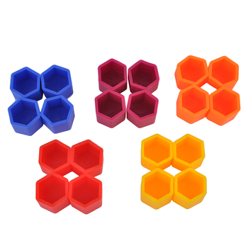 Colorful 20Pcs/Set 17/19/21mm Silicone Hollow Hexagonal Wheel Hub Screw Cover Car Styling Bolt Nut Caps Tires Decoration image