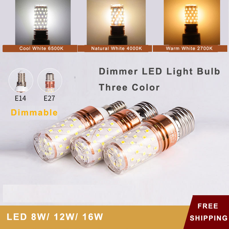 LED Dimmer Bulbs E27/ <font><b>E14</b></font> Corn Lights Bulb Dimmable Three Way Color Switch Function <font><b>6000K</b></font>/4500K/3000K For Home Lighting Fixture image