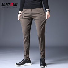 Jantour Brand 2020 New high quality Men Pants Straight Casual Men Trousers Classic Business Fashion thin brown Pants For Men cheap Full Length Flat REGULAR COTTON spandex 28 - 38 Midweight Broadcloth Pockets Smart Casual Drawstring cotton 99 spandex 1