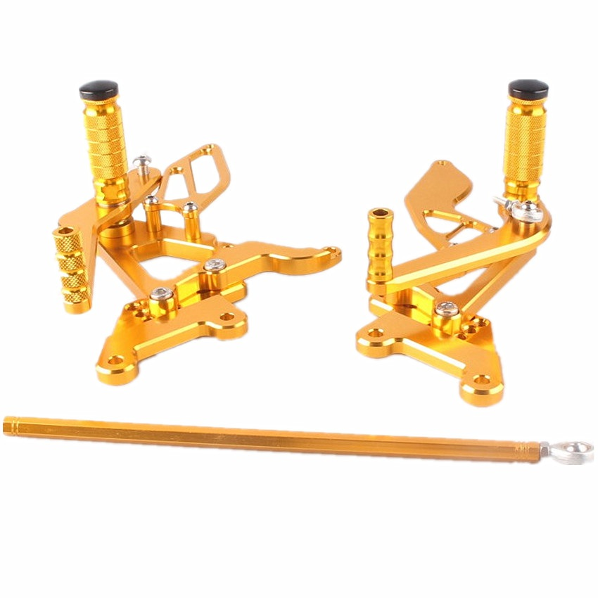 Adjustable Rearset Foot Pegs Aluminum For Yamaha YZF R6 2003-2005 2004 CNC Motorcycle Gold