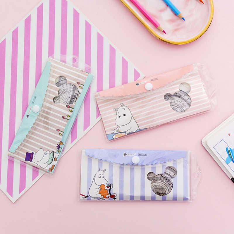 4 יח'\סט Kawaii Cartoon Creative היפופוטם צבעוני פלסטיק שליט סט חידוש מתנה לילדים תלמיד בית ספר משרד מכתבים