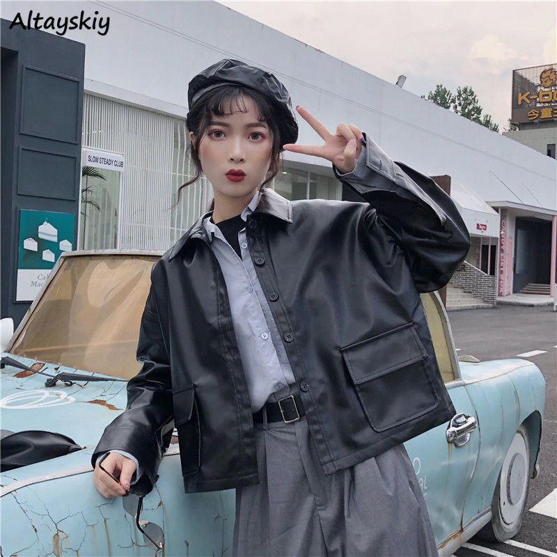 Jackets Womens Harajuku Fashion Loose Chic Simple