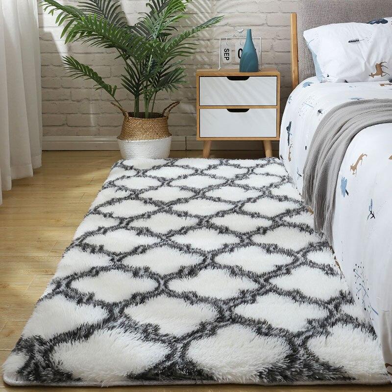 Moelleux fourrure cravate teinture tapis pour chambre décor modernas maison étage grand lavable à la main nordica salon doux blanc shaggy tapis