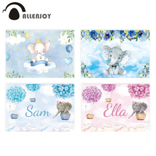 Allenjoy 코끼리 배경 아기 샤워 생일 푸른 하늘 꽃 풍선 사진 배경 신생아 파티 Photocall 배너