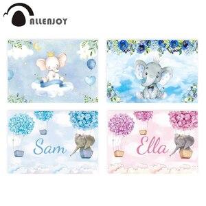 Image 1 - Allenjoy 코끼리 배경 아기 샤워 생일 푸른 하늘 꽃 풍선 사진 배경 신생아 파티 Photocall 배너
