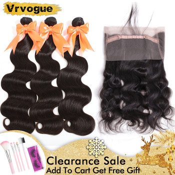 Vrvogue Peruvian Body Wave Bundles With 360 Lace Frontal Double Weft Remy Human Hair Weave 3 Bundles With Lace Frontal Closure