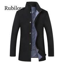 Rubilove 2019 new arrival winter high quality wool thick trench coat men mens gray jackets plus-size M-6XL