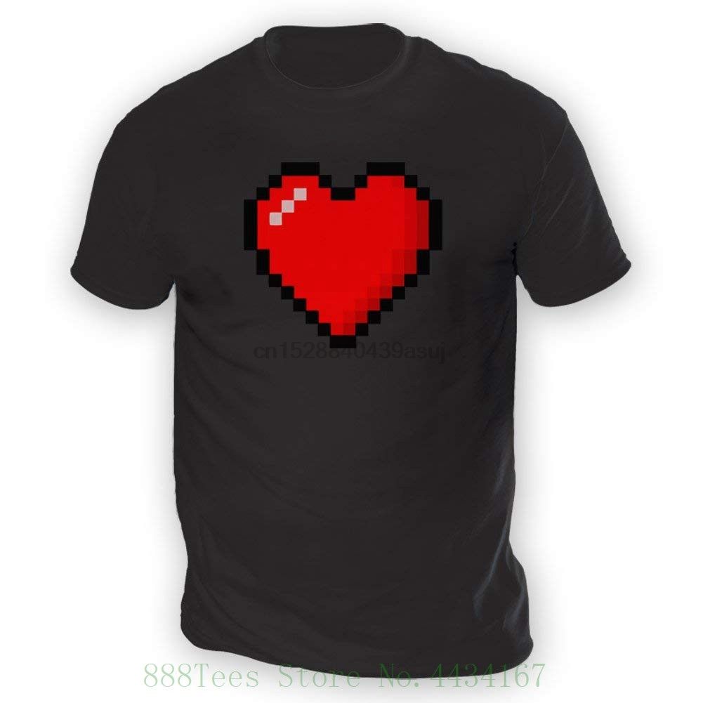 16 Bit Heart Mens T shirt - X13 Colours - Xs To 3xl Sizes Summer Short Sleeves New Fashion T shirt