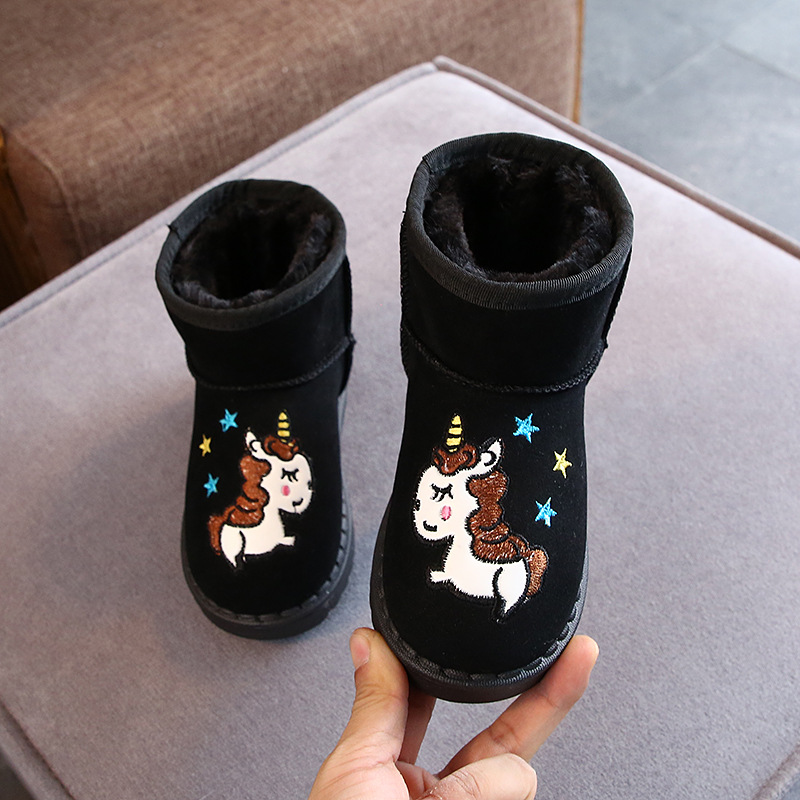 New Rubber Boots Soft Kids Cartoon Unicorn Boot Girls Slip-resistant Boots Cotton Padded Flat Boys Winter Snow Boot