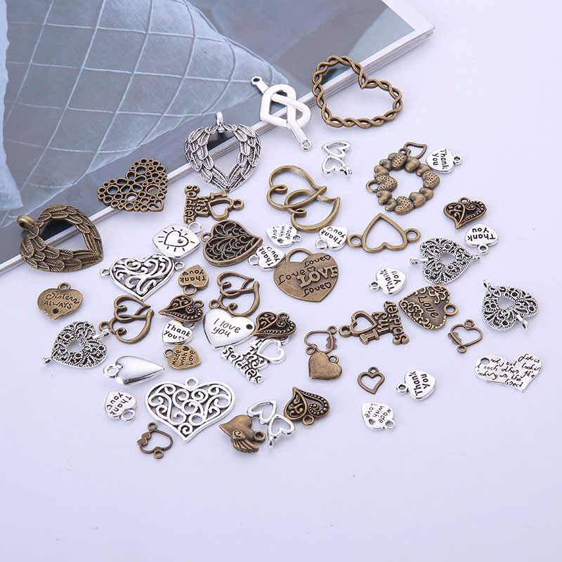 100pcs Vintage Metal Mixed Hearts Charms จี้ Retro love Charms สำหรับเครื่องประดับ Diy เครื่องประดับทำด้วยมือแฟชั่น