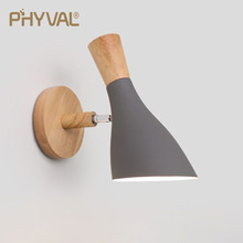 PHYVAL Nordic Wall Lamp Creative Macaron Solid Wood Wall Light for Bedroom Bedside Living Room E27 LED Modren Wall Sconce Lamps