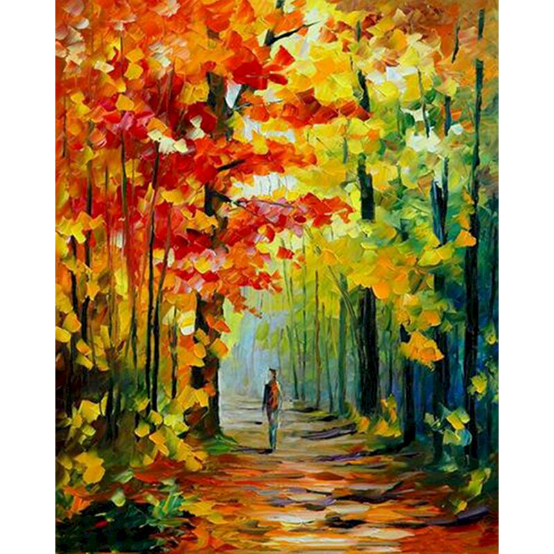 RUOPOTY Modern Frame DIY Painting By Numbers hand Deep in the forest Landscape Hand Painted Painting Home Wall Art Decor For Art-0