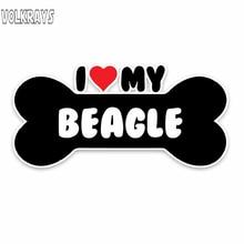 Volkrays moda araba Sticker ben kalp Beagle Terrier köpek kemik aksesuarları yansıtıcı su geçirmez güneş koruyucu PVC çıkartması, 6cm * 14cm