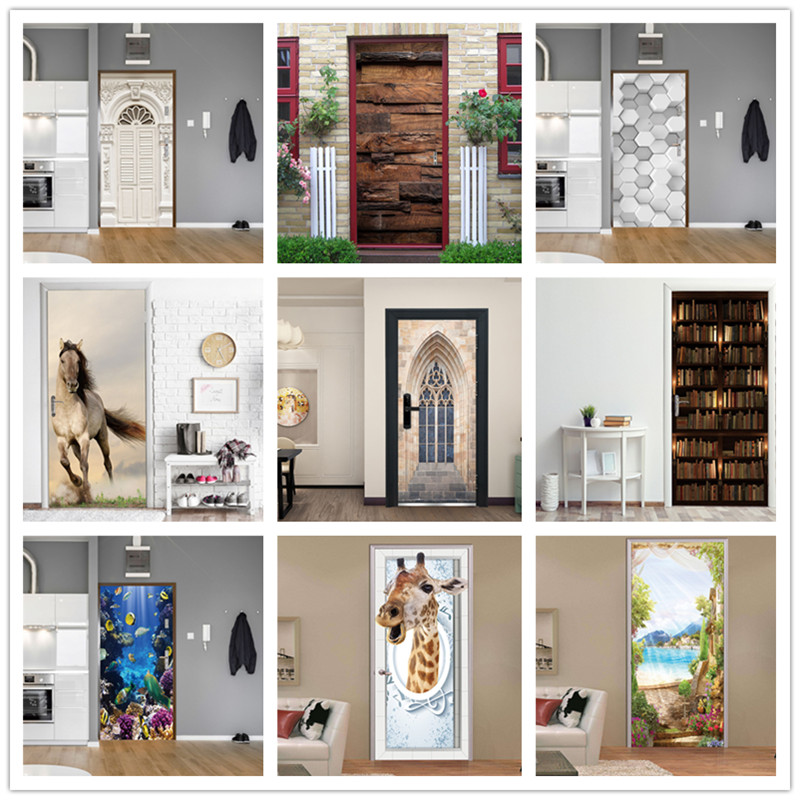 European Modern Home Design Door Poster Waterproof PVC Wallpaper Self Adhesive DIY Decor Sticker On The Door Living Room Bedroom