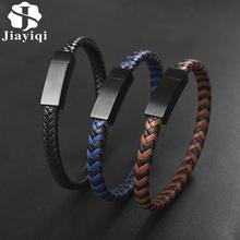 Jiayiqi Classical Leather Bracelet for Men Women Weaved Chain Handmade Black Stainless Steel Magnetic Clasp Bangles Punk Jewelry