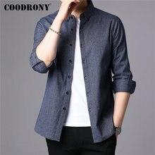 COODRONY גברים חולצה טהור כותנה ארוך שרוול חולצה גברים 2019 חדש הגעה אאטאם חורף עסקים מקרית חולצות Camisa Masculina 96077