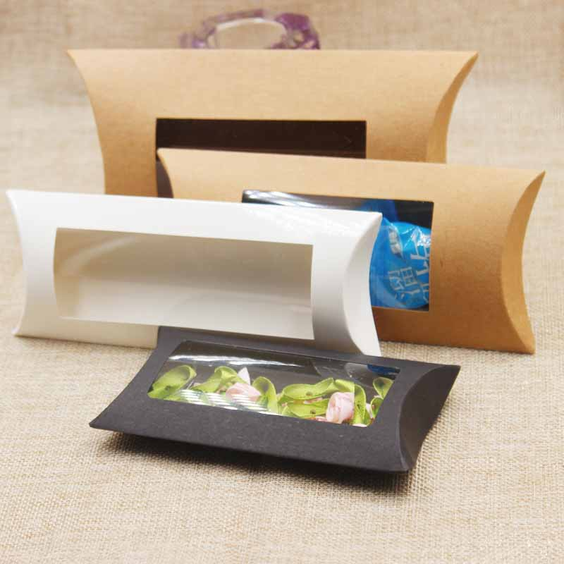 10pc 16*7*2.4cm brown/white/black cardboard pillow window box with clear pvc for proucts/gifts/favors/display packing show 15