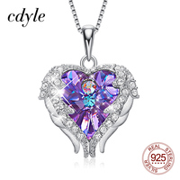 Cdyle Real 925 Sterling Silver Necklace with Purple Crystal Angel Wing Heart Shaped Pendant for Women Engagement Jewelry