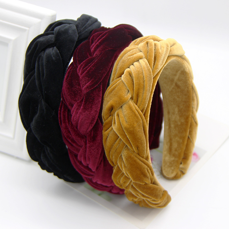 Xugar Fashion Bezel Twist Velvet Braid Headband For Women Solid Color Thicken Hairband Women Girls Hair Accessories Hair Band