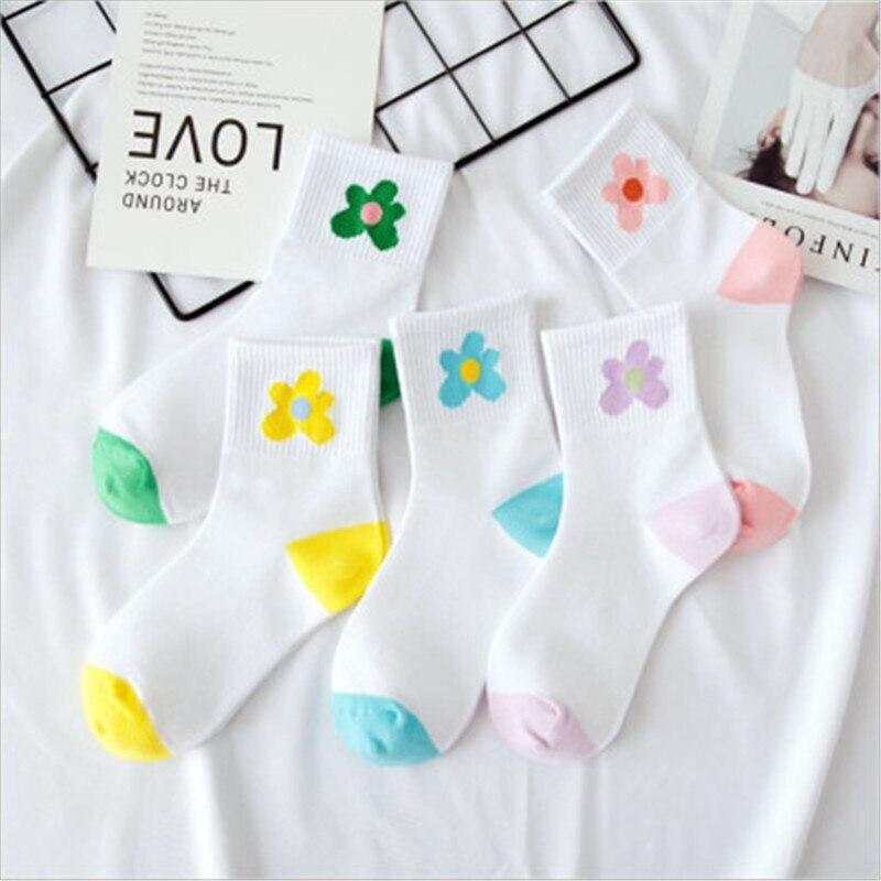 5 Pairs Funny Cute Japanese High School Girls Cotton Loose Striped Crew Socks Colorful Women Sox Harajuku Designer Retro Lovely