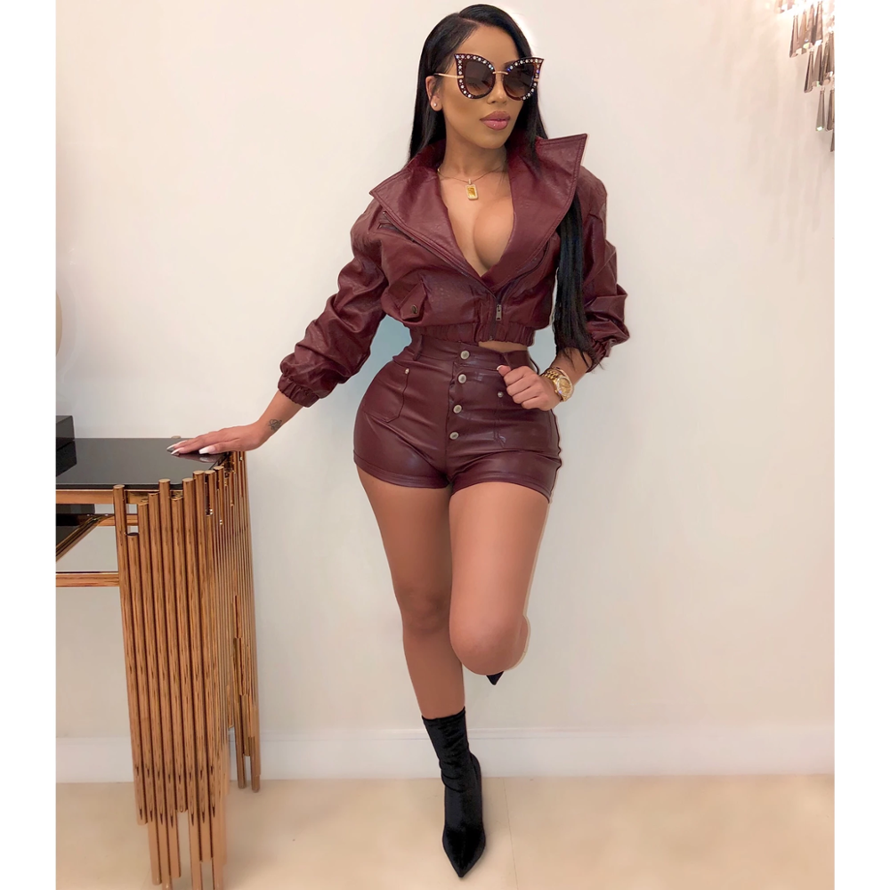 JRRY Frauen Trainingsanzüge PU Leder Zwei Stücke Gesetzt Langarm Top Kurze Hosen Faux Leder 2 Stück Set Gefälschte Leder im freien Tragen