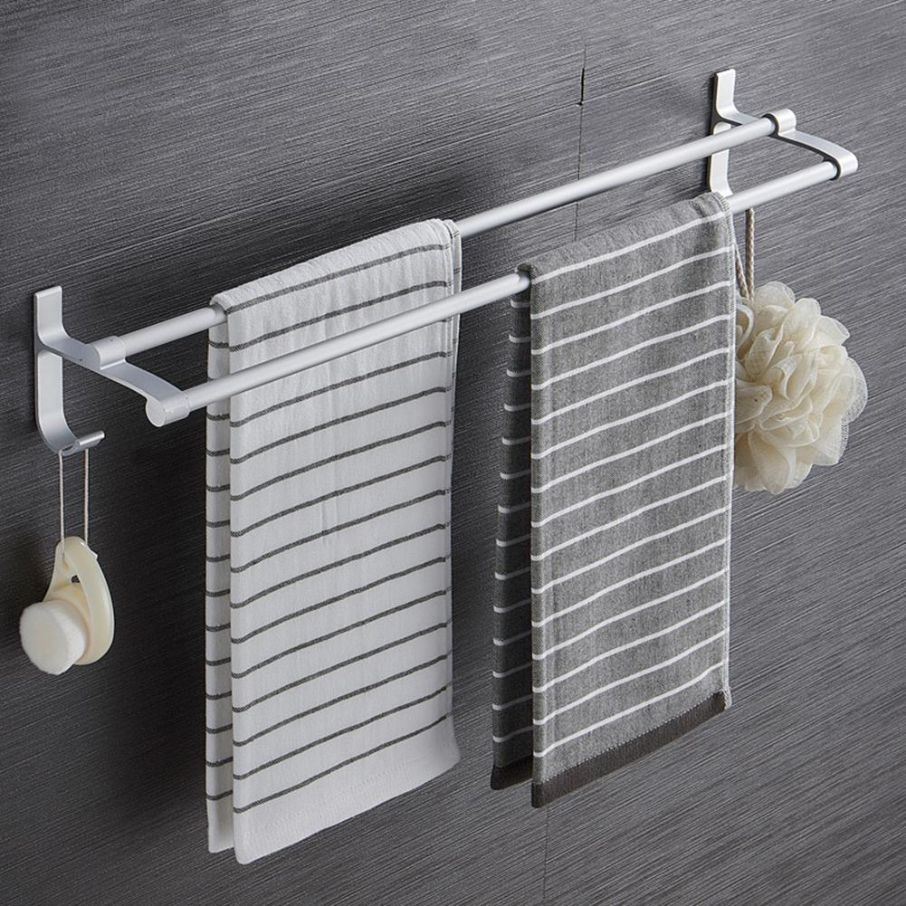 Bathroom Tower Shelf Non-drilling Bath Towel Holder Hanging Storage Rack Organizer For Home Bathroom Supplies