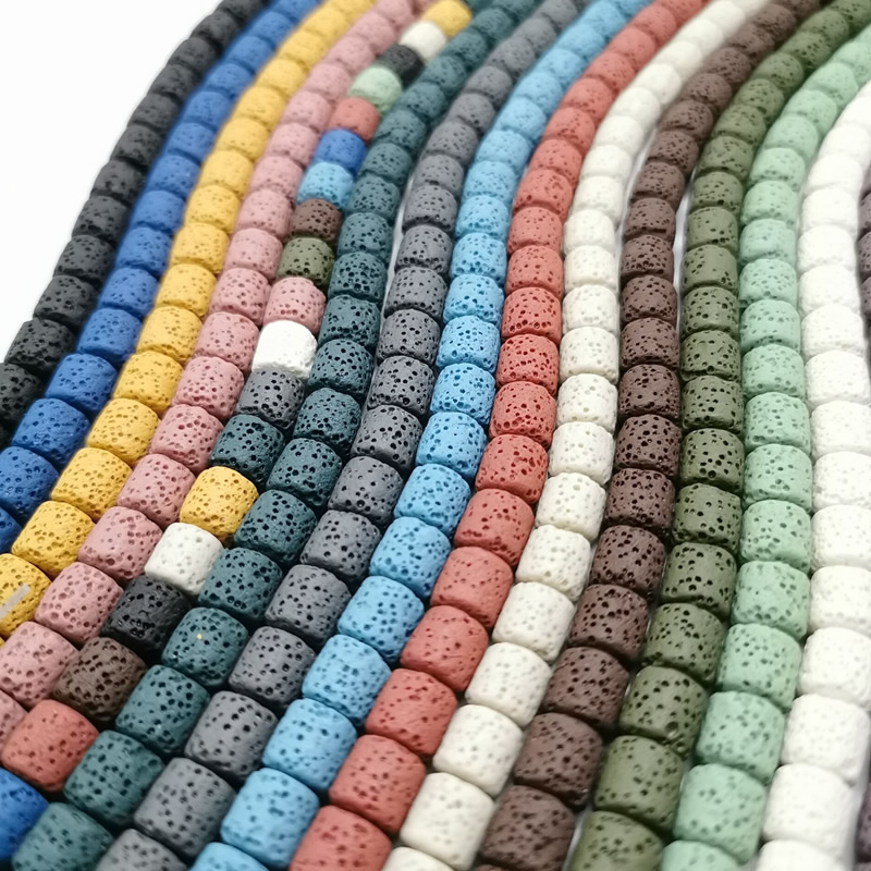 10/8X15mmColor Volcanic Lava Stone Round Tube Spacer Beads Loose Beads Charms Rock Beads DIY for Jewelry Earrings Making