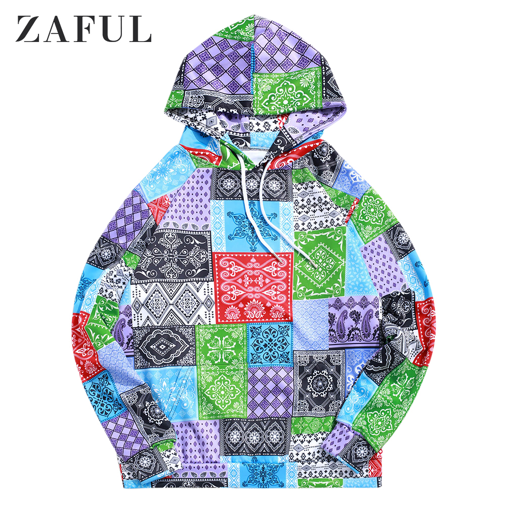 ZAFUL Bandana Tribal Print Casual Drawstring Kangaroo Pocket Hoodie For Men Long Sleeve Tops Pullovers Newest 2019