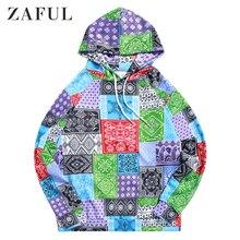 цена на ZAFUL Bandana Tribal Print Casual Drawstring Kangaroo Pocket Hoodie For Men Long Sleeve Tops Pullovers Newest 2019