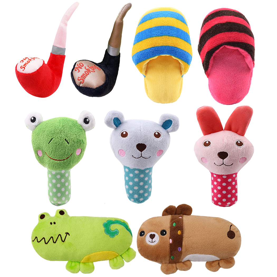 New Plush Dog Toys Squeaky Red Blue Pig Green Frog Puppy Chew Toy Interactive Cat Toys Pet Dog Sound Toys For Small Medium Dogs