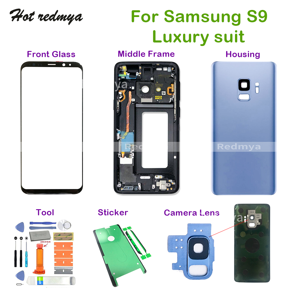 S9 Repair Complete Parts For Samsung Galaxy S9 <font><b>G960</b></font> G960F Middle Frame+Full Rear <font><b>Back</b></font> Cover Housing+Front Glass+Camera Lens+Tool image
