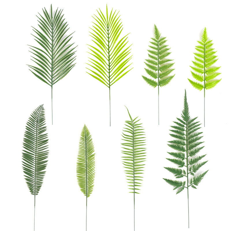 3PCS Single Branch Leaf Artificial Plant Grass Leaf  Fake Plants Artificial Greenery Palm Trees Big Green Leaves