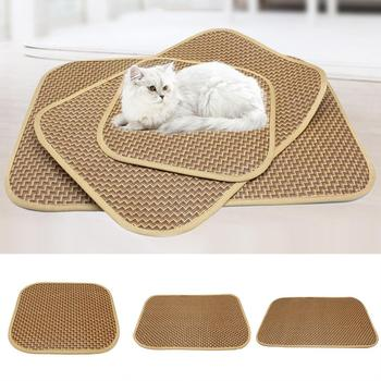Waterproof Dog Pet Breathable Sleeping Mat Bed Puppy Cat Doggie Cooling Pad Cushion Oval Grid Bamboo Mats High Quality image