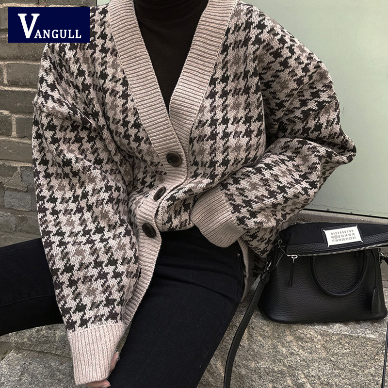 Vangull Plaid Cardigan Winter New V-neck Single Breasted Women's Clothing Loose England knitted jacket Korean Style Warm sweater