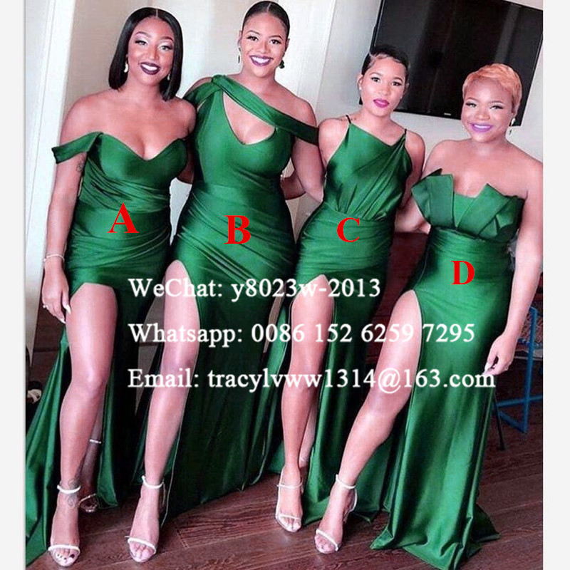 Green Bridesmaid Dresses African Women Sexy Side Split Off Shoulder Mermaid Long Wedding Party Dress Robe Demoiselle D'honneur
