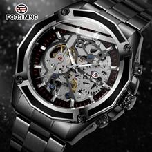 Forsining Fashion Steampunk Mechanical Movement Design Black Bracelet Men's Auto