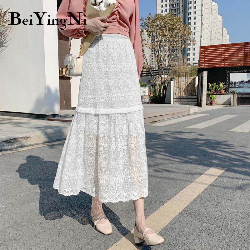 Beiyingni High Waist Skirt Women Elegant Solid Lace Hollow Out Elegant Vintage Fashion 2019 Falda Femme White Black Skirts Lady