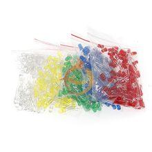 Набор светодиодных диодов 500 шт./лот 5 мм, смешанные цвета, красный, зеленый, желтый, синий, белый, комплект светодиодных ламп «сделай сам»
