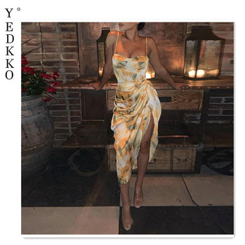 Fashion sexy women's floral print dress abstract one-shoulder sleeveless spring and summer 2021 elegant split robe dress 1