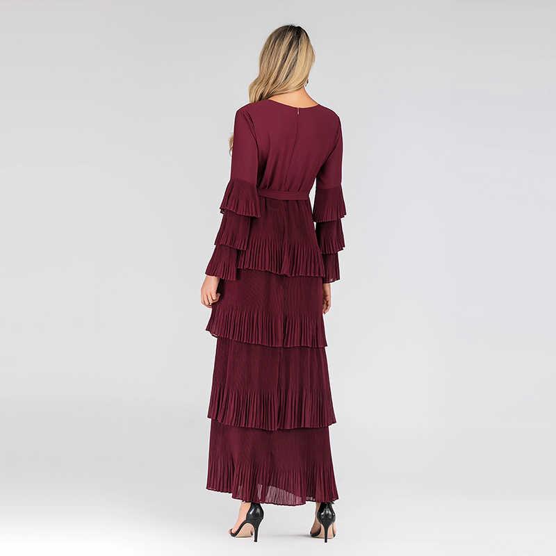 Plus Kích Thước 2019 Thu Đông Đỏ Xếp Ly Ren Đầm Nữ Sukienki Ropa Mujer Áo Dây Longue Femme Elbise Đầm Nữ Vestidos