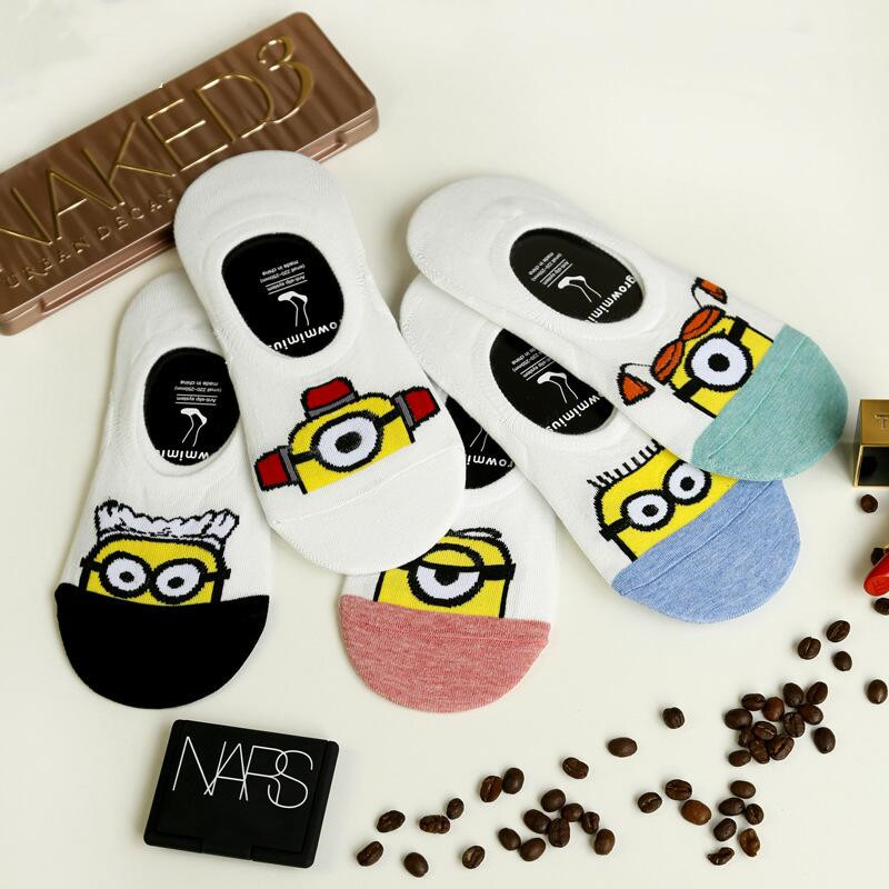 Summer Cartoon Anime Minion Socks Cute Minion Women's Socks Summer Funny Short Socks Women's Cotton Socks Dropship