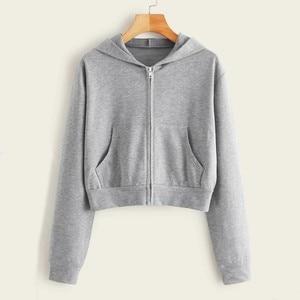 Harajuku Hoodie Women Casual Solid Long Sleeve Zipper Pocket Shirt Solid Color Cropped Hooded Sweatshirt Tops Blouse Jackets