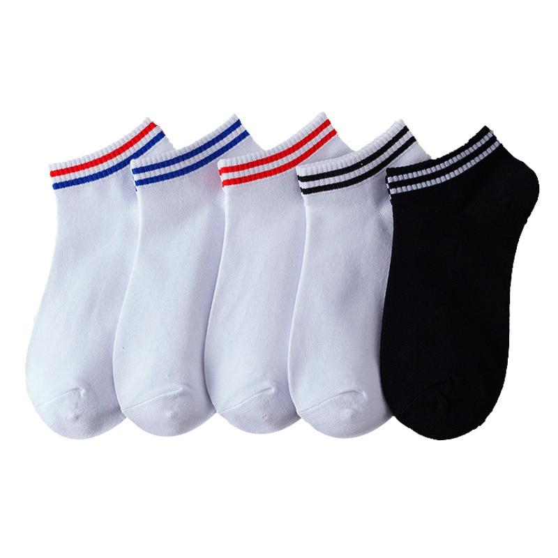 5 Pairs Spring Summer Women Socks Solid Color Stripe Women Boat Socks Comfortable Breathable Cotton Socks Girls Ankle Socks