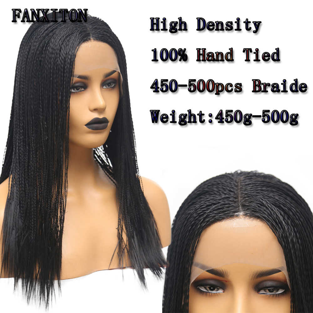 FANXITON Long Braided Black Heat Resistant Fiber Synthetic Hair Wigs 2x Twist Braids Middle Part Made Hand For Women