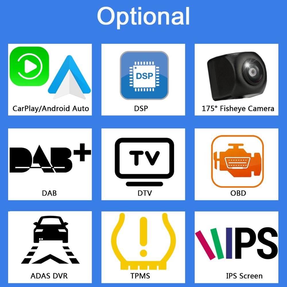 Optional Extra Cost For CarPlay DSP Camera DAB DTV OBD ADAS TPMS IPS Screen Owtosin Android DVD only sell with car dvd together