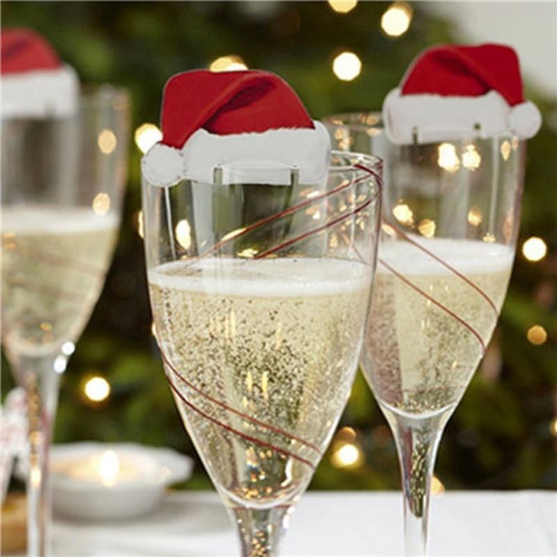 100pcs/30pcs Xmas Santa Claus Hats Champagne Glass Decor Paperboard Noel Navidad Christmas Decorations 2019 Navidad  Christmas