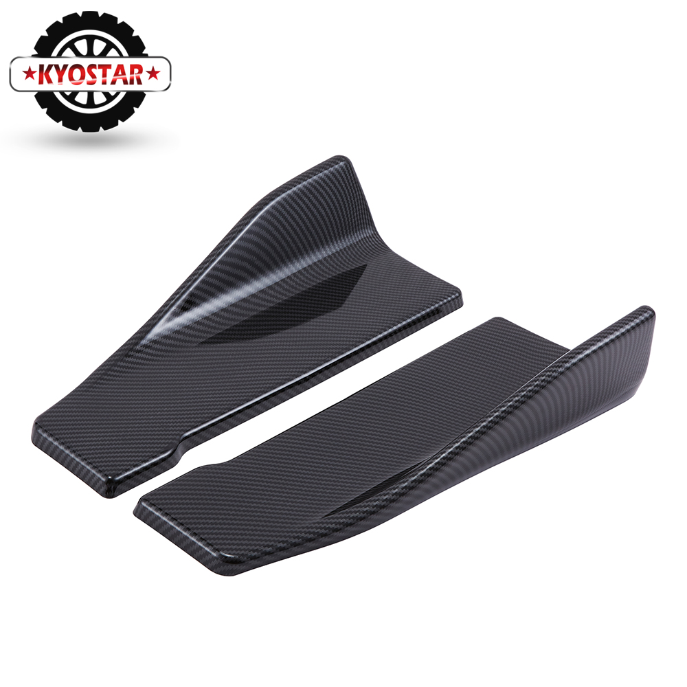 Image 2 - Universal Carbon Fiber Car Rear Lip Angle Splitter Diffuser Bumper Spoiler Winglet Wings Anti crash modified Car Body Side Skirt-in Bumpers from Automobiles & Motorcycles