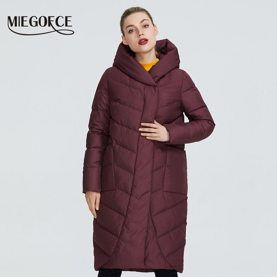 Kadın Giyim'ten Parkalar'de MIEGOFCE 2019 yeni kış kadın koleksiyonu ceket kış kadın ceket v şekilli yaka Hood ile olacak korumak çin'den soğuk'da  Grup 1