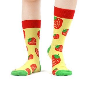 Image 2 - SANZETTI 12 пар женских носков из чесаного хлопка, Веселые разноцветные милые цветы, фруктовые гольфы, новинка, свадебные подарочные носки