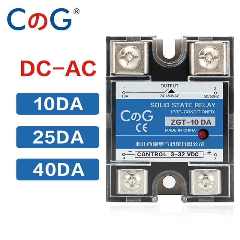 Однофазный теплоотвод CG 10A 25A 40A DA, постоянный ток, 220 В, реле на 3-32VDC, 25DA 40DA, пластиковая крышка, твердотельные реле
